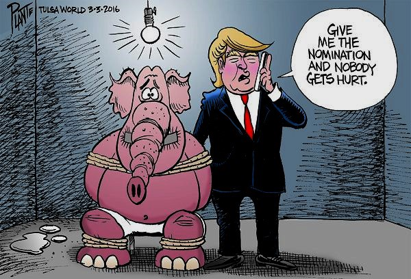Bruce Plante Cartoon: Trump takes a hostage, Donald J. Trump, Republican Presidential Primary 2016, GOP, RNC, Republican Party, Republican Nominee, Senator Marco Rubio, Governor John Kasich, Senator Ted Cruz, Plante 20160304