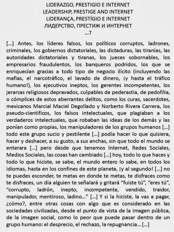 FERNANDO ANTONIO RUANO FAXAS. LIDERAZGO, PRESTIGIO E INTERNET. LEADERSHIP, PRESTIGE AND INTERNET. LIDERANÇA, PRESTÍGIO E INTERNET. ЛИДЕРСТВО, ПРЕСТИЖ И ИНТЕРНЕТ...7