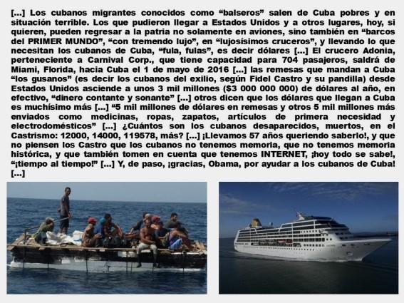 FERNANDO ANTONIO RUANO FAXAS, CUBA, CUBANOS, FIDEL CASTRO, OBAMA, EMBARGO, BLOQUEO, REMESAS, MIGRACIÓN, MIGRANTES, CRUCERO, CRUCEROS, CARNIVAL