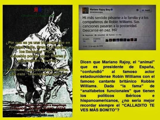 ANALFABETISMO FUNCIONAL, POLÍTICA, POLÍTICOS, IMAGEN PÚBLICA, IMAGEN SOCIAL. Mariano Rajoy, de España, confunde a Robin Williams con Robbie Williams