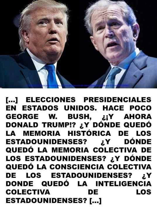 FERNANDO ANTONIO RUANO FAXAS. IMAGOLOGÍA, PAISOLOGÍA. TRUMP, BUSH, ESTADOS UNIDOS DE AMÉRICA, ELECCIONES, MEMORIA HISTÓRICA, MEMORIA COLECTIVA, CONSCIENCIA COLECTIVA, INTELIGENCIA COLECTIVA