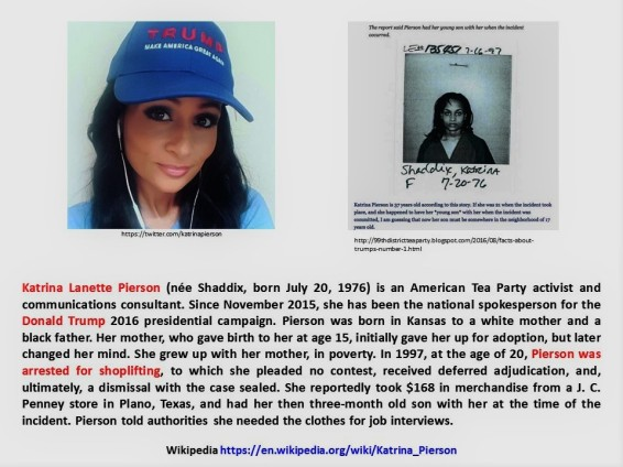 Katrina Pierson. Arrest for shoplifting, detenida por robo, J. C. Penney, GOP, Tea Party, republicans, republicanos, Trump, Clinton, election, elecciones, United States of America, USA, US, EEUU.