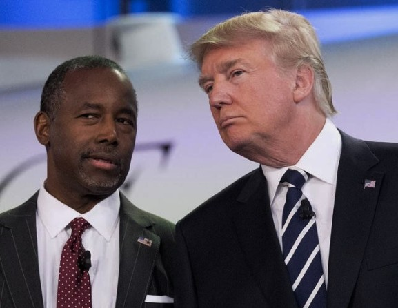 Retired neurosurgeon Ben Carson, left, talks to businessman Donald Trump prior to the start of the debate. The GOP Debate Hall at the Ronald Reagan Library. Wednesday September 16, 2015. Simi Valley, CA, USA (Aristide Economopoulos | NJ Advance Media for NJ.com)