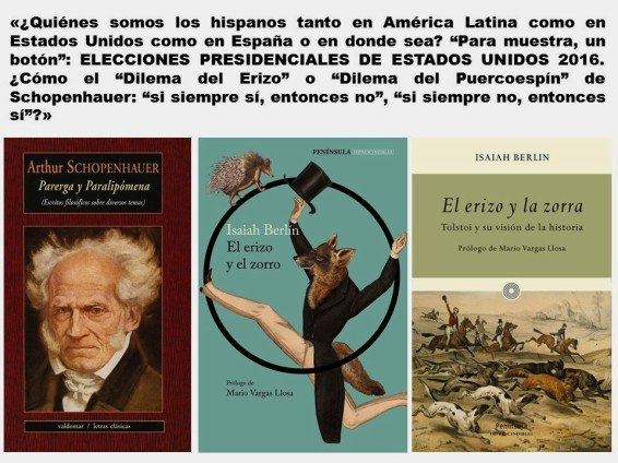 FERNANDO ANTONIO RUANO FAXAS. IMAGOLOGÍA, ELECCIONES, HISPANOS, LATINOS, MEXICO, MEXICANOS, CLINTON, TRUMP, SCHOPENHAUER, PARERGA Y PARALIPÓMENA, ISAIAH BERLIN, THE HEDGEHOG AND THE FOX, EL ERIZO Y EL ZORRO