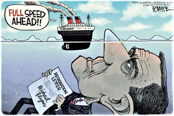 gop-maga-trump-michael-flynn-resignation-letter-russia-rusia-putin-hillary-clinton-titanic